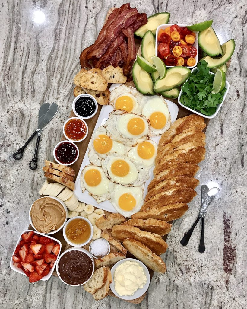 toast and eggs brunch board platter with jams