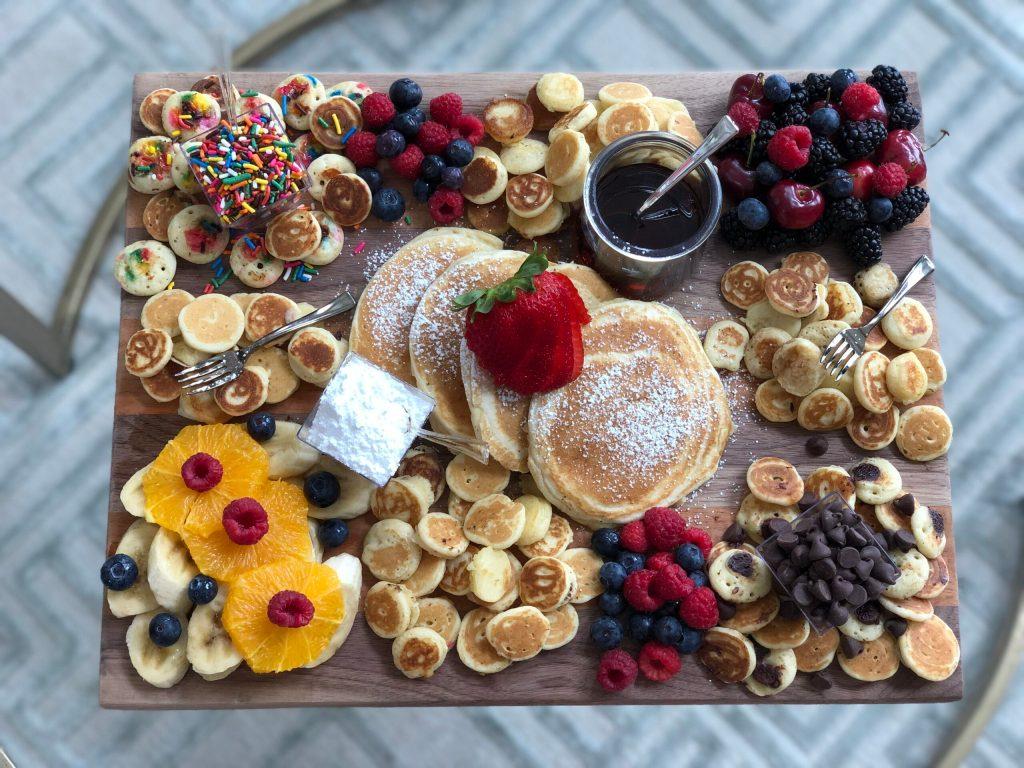 mini pancake brunch board platter